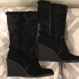 Coach all weather and suede wedge boots